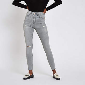 River Island Grey Harper ripped super skinny jeans