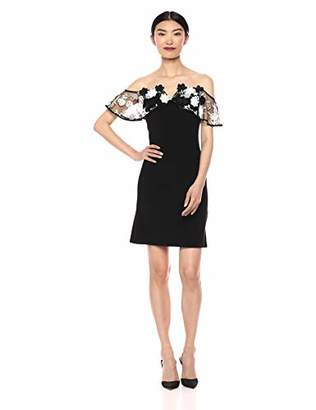 MSK Women's Dress with 3D Flower Embroider on Sleeve, Black/Ivory L
