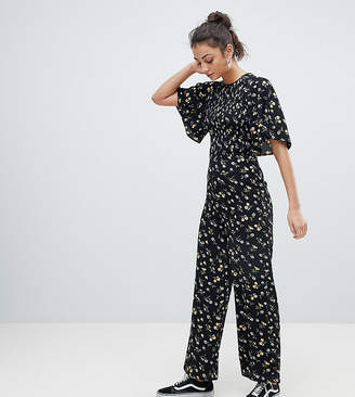Fashion Union Tall Jumpsuit With Kimono Sleeves In Daisy Floral