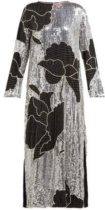 Dodo Bar Or Gladys Floral Sequinned And Beaded Shift Dress - Womens - Silver