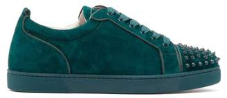 Christian Louboutin Louis Junior Studded Suede Trainers - Mens - Green