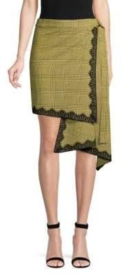 Robert Rodriguez Wrap Plaid Asymmetrical Skirt