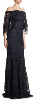 Theia Off-The-Shoulder Lace Trumpet Gown $1,295 thestylecure.com