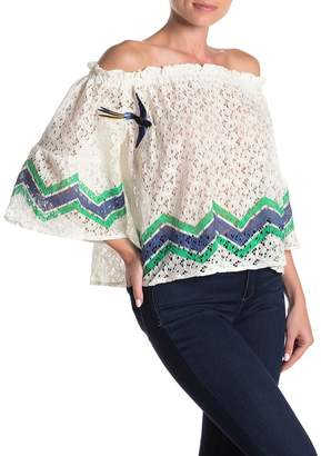 SWEET RAIN Embroidered Bird & Butterfly Lace Off-the-Shoulder Top