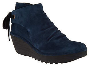 Fly London Suede Ruched Ankle Boots with TieDetail - Yebi