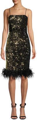 Milly Elle Sequin Velvet Feather-Hem Dress