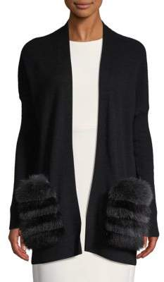 Saks Fifth Avenue Fox Fur Trimmed Longline Cashmere Cardigan
