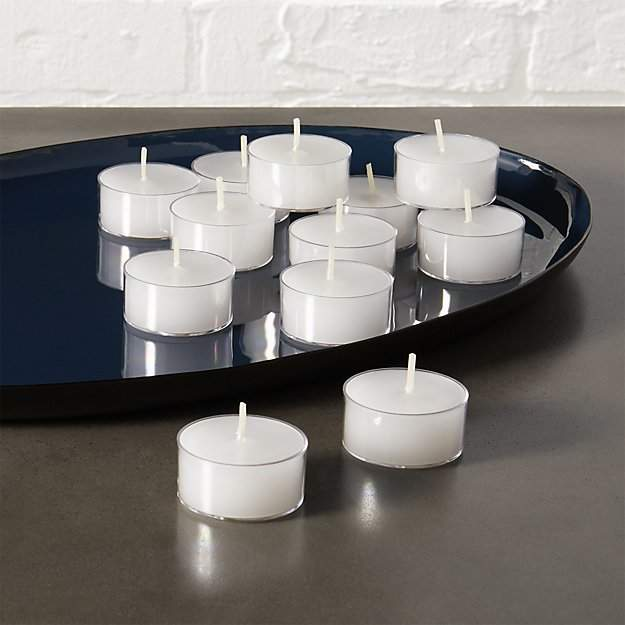 Set Of 12 Clear-Cupped Tea Light Candles