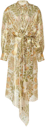 Oscar de la Renta Paisley-Print Silk-Blend Midi Dress