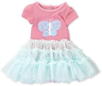 Mini Muffin Newborn Girls) Pink Butterfly Tutu Bodysuit