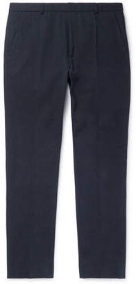 ceedb2f0 A.P.C. Navy Cropped Slim-Fit Mercerised Cotton-Canvas Trousers