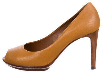 Bottega Veneta Bottega Veneta Leather Peep-Toe Pumps