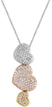 Orovoque 18K Tri-Gold Diamond Pave Hearts Pendant Necklace
