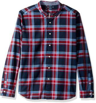 Nautica Men's Long Sleeve Stretch Yarn Dyed Oxford Large Plaid Shirt, Red