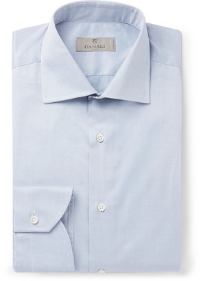 Canali Light-Grey Slim-Fit Cotton Shirt - Men - Gray