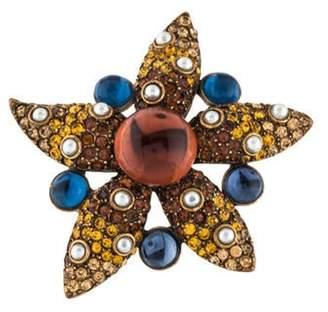 Oscar de la Renta Faux Pearl, Resin & Crystal Star Brooch Gold Faux Pearl, Resin & Crystal Star Brooch