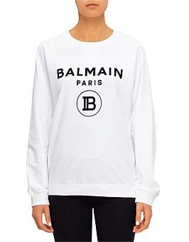 Balmain Flocked Logo Sweatshirt