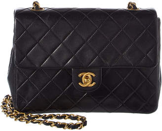 Chanel Black Quilted Lambskin Leather Small Half Flap Bag