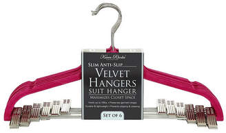 Simplify 6 Pack Velvet Hangers with Clips in Fuchsia