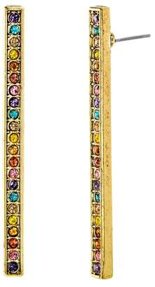 Steve Madden Multi-Colored Crystal Bar Earrings
