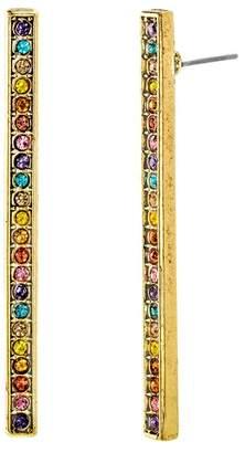Steve Madden Multi-Colored Crystal Bar Earrings