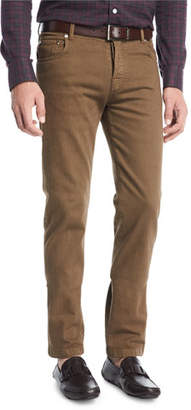 Kiton Twill Five-Pocket Pants, Khaki