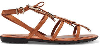 Tod's Embellished Fringed Leather Sandals - Tan