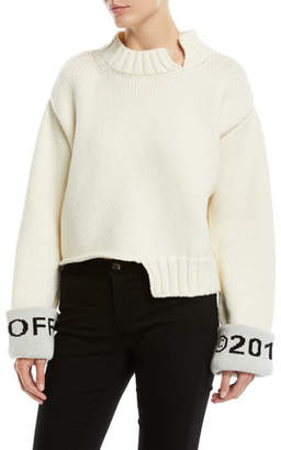 Off-White Asymmetric Cuffed Wool Sweater