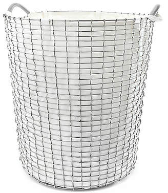 Design Within Reach Korbo Handmade Wire Basket, Classic 80 with Liner, White