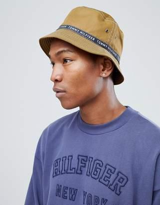 Tommy Hilfiger Taped Logo Bucket Hat Nylon In Khaki