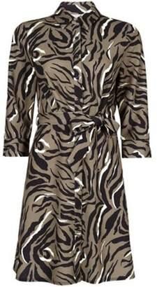 Dorothy Perkins Womens Petite Khaki Animal Print Shirt Dress
