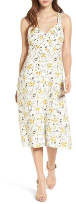 BP Floral Print Tie Back Midi Dress