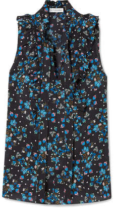Altuzarra Choukri Ruffled Floral-print Silk Crepe De Chine Blouse - Black