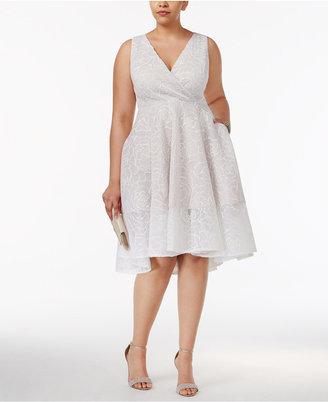 Adrianna Papell Plus Size Floral Mesh Surplice Dress $239 thestylecure.com