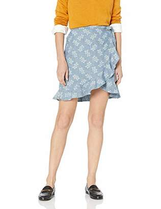 J.Crew Mercantile Women's Tie Waist Floral Chambray Ruffle Wrap Mini Skirt