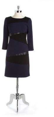 DKNY DKNYC Ponte Faux Leather Sheath Dress