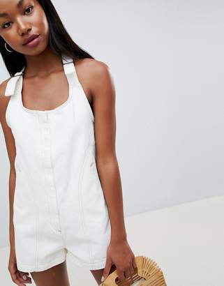 Asos Design DESIGN denim romper in white with tie strap