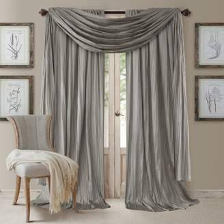 """Athena 52"""" x 84"""" Crinkled Curtain Panels, Pair with Scarf Valance"""