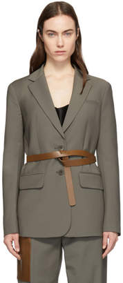 Tibi Grey Plain Weave Tablier Blazer