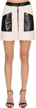 Courreges Faux Shearling & Wrinkled Vinyl Skirt