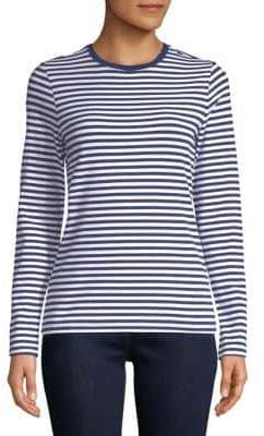 Lord & Taylor Petite Long-Sleeve Essential Striped Crew Neck Tee