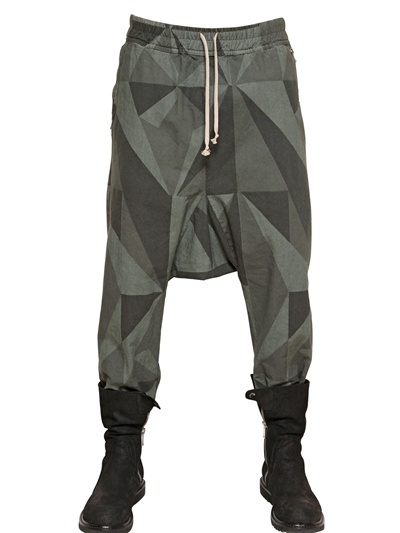 Rick Owens Camouflage Canvas Low Crotch Trousers