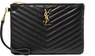 Saint Laurent - Monogramme Quilted Leather Pouch - Black $695 thestylecure.com