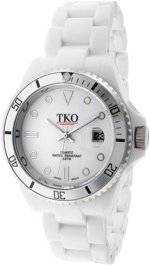 TKO ORLOGI Unisex TK536-WT Ceramic Glossy Plastic Case and Bracelet Watch