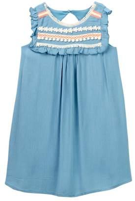 Zunie Ruffle Sleeve Solid Gauze Dress (Little Girls)