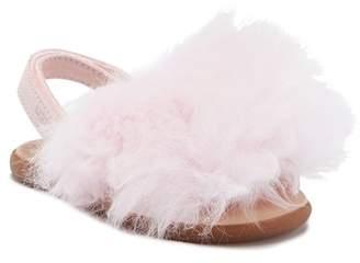 UGG Holly Suede Genuine Lamb Fur Slip-On Sandal (Baby & Toddler)