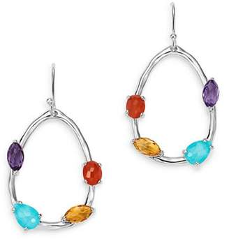 Ippolita Sterling Silver Rock Candy Turquoise & Clear Quartz Doublet, Amethyst, Carnelian and Quartz Pear Drop Earrings