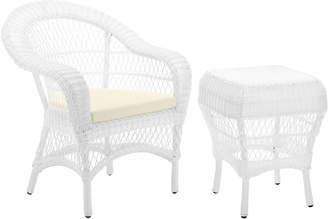 Webster Temple & Raffles Rattan Outdoor Side Table & Armchair Set