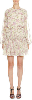 Giambattista Valli Long-Sleeve Floral Cinch-Waist Dress