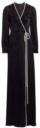 Ahluwalia Embellished Tied Satin Faux-Wrap Gown